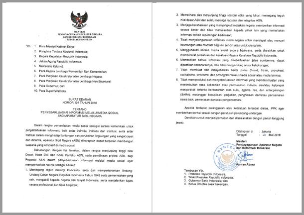Surat Edaran MenPANRB Nomor 137 Tahun 2018 Tentang Penyebarluasan Informasi Melalui Media Sosial Bagi Aparatur Sipil Negara