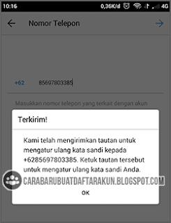reset password instagram dengan no telepon