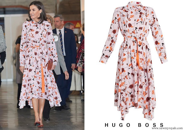 Queen Letizia wore a new floral print midi shirtdress by Hugo Boss