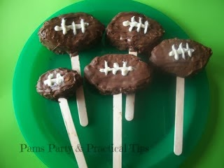 Football Pops made from Rice Krispie Treats