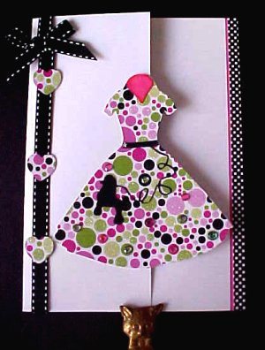 Paper Craft Creations 60s Poodle Dress Silhouette Card