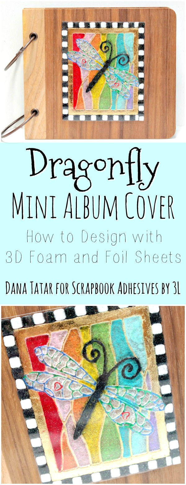 How to create a 3D Foam Rainbow Stained Glass Dragonfly Dimensional Embellishment with Metallic Foil and Glittered Flock by Dana Tatar