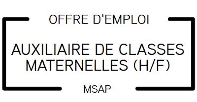 Offre d'emploi : auxiliaire de classes maternelles (H/F)