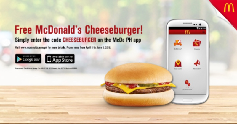 get a free mcdonald s cheeseburger when you download the mcdo ph app rochelle rivera. Black Bedroom Furniture Sets. Home Design Ideas