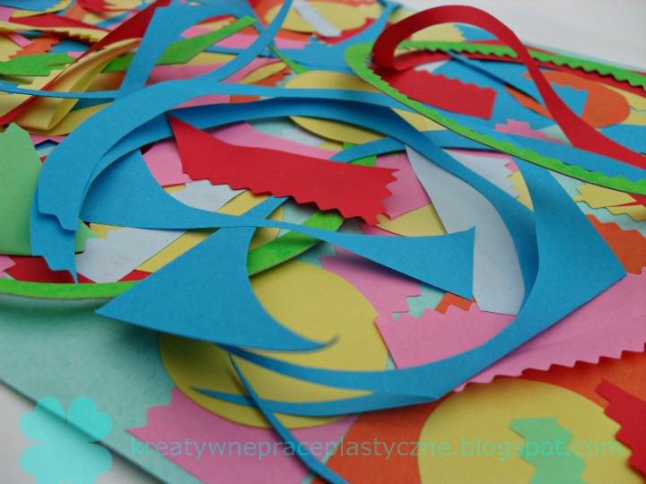 Collage ze ścinków papieru w 3D