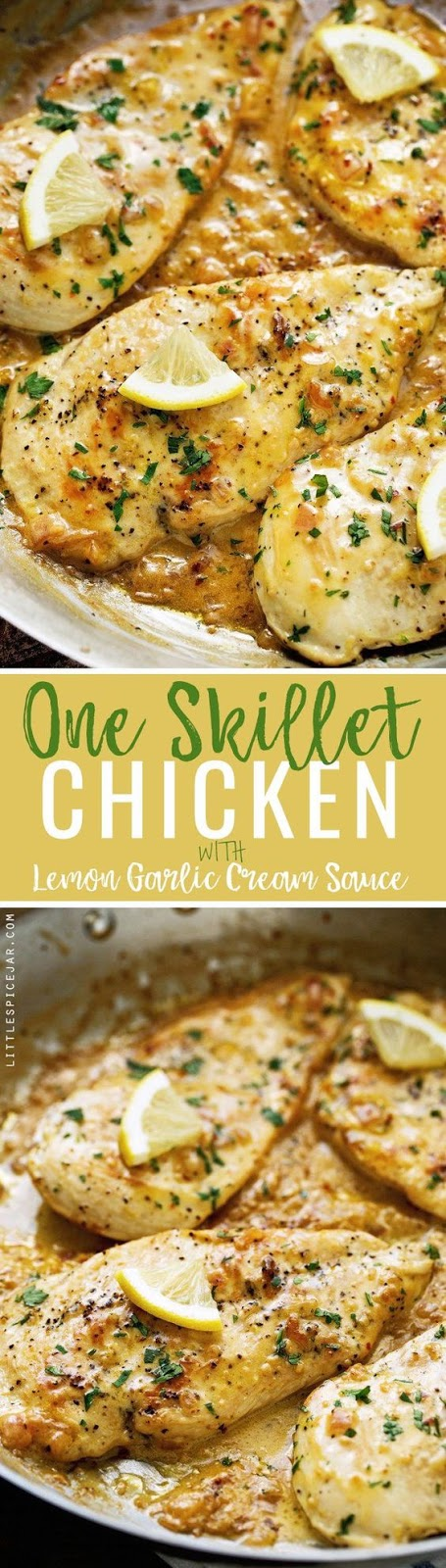 ONE SKILLET CHICKEN WITH LEMON GARLIC CREAM SAUCE #chicken #chickenrecipes #lemon #garlic #creamsauce #dinnerideas #dinnerrecipes #easydinnerrecipes