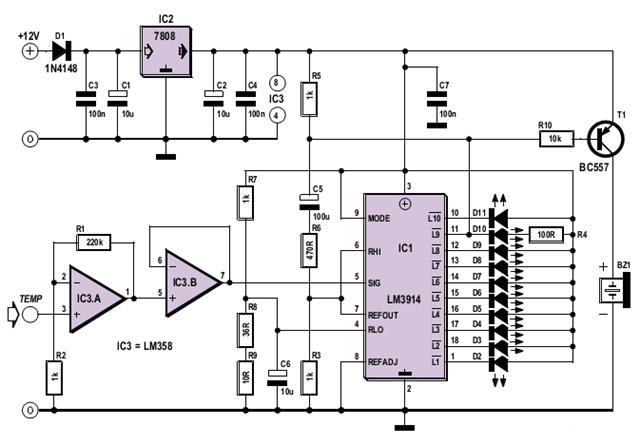 Make A Simple Oil Temperature Gauge Circuit Diagram
