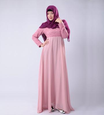 Model Gamis Muslim Bahan Sifon Modern