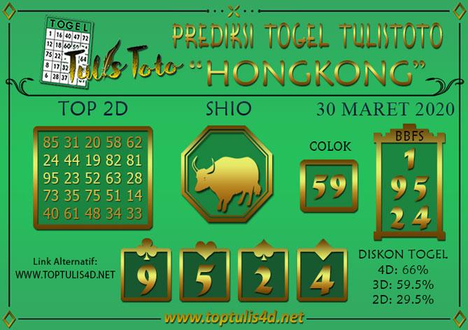 Prediksi Togel HONGKONG TULISTOTO 30 MARET 2020