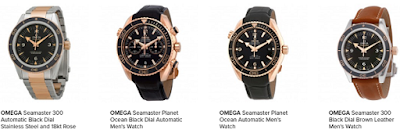 omega men seamaster black dial watch