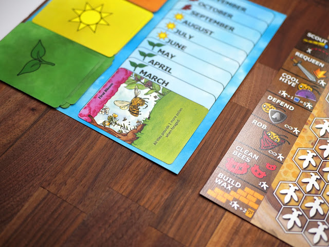 The game board with the seasons and months and cards laid down to activate bonuses