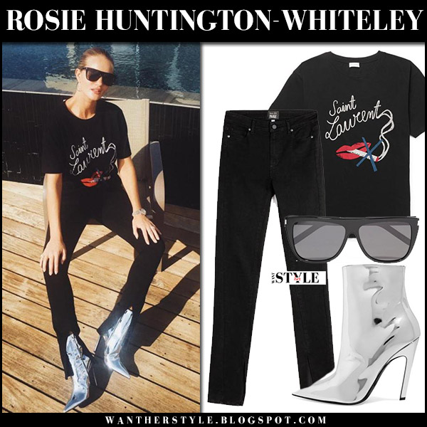 Rosie Huntington-Whiteley in black lips print tee, black jeans and mirrored silver ankle boots balenciaga september 14 2017 style