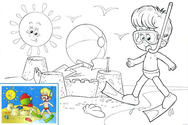 niño en la playa jugando con la arena para colorear