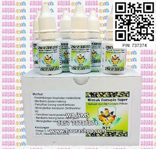Minyak Fumayin adalah suplemen alami terbaik untuk kesehatan burung Anda. Bisa digunakan sebagai suplemen lomba, meingkatkan intensitas kicau dan juga bisa digunakan untuk kesuburan reproduksi dan betina yang macet produksi.
