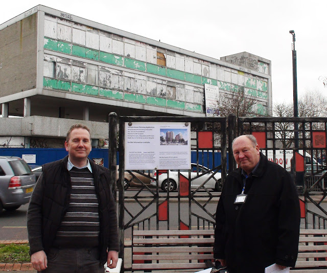 Simon Densley and Alan Plant in front of Victoria House, North Cheam