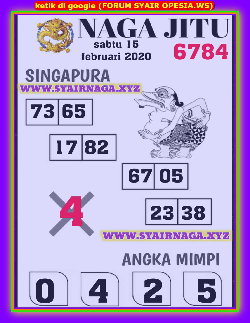 Kode syair Singapore Sabtu 15 Februari 2020 125