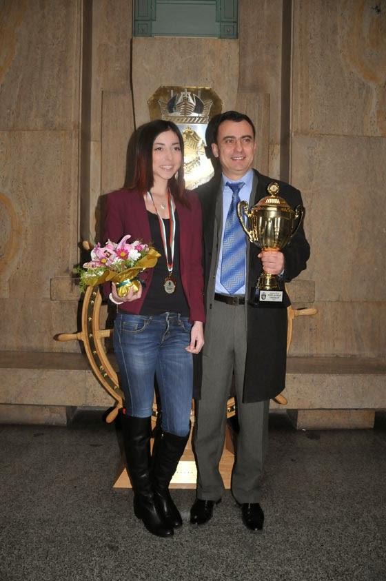 Камелия и Стефан с наградите Спортист на годината за 2014 г на Община Бургас