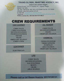 Available hiring jobs for Filipino seaman crew work at car carrier ship