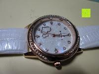 Seite: Ostan Damen Uhren Mode Weiß Leder Runde Zifferblatt mit Zirkonia Armkette Armband Armbanduhr Uhr