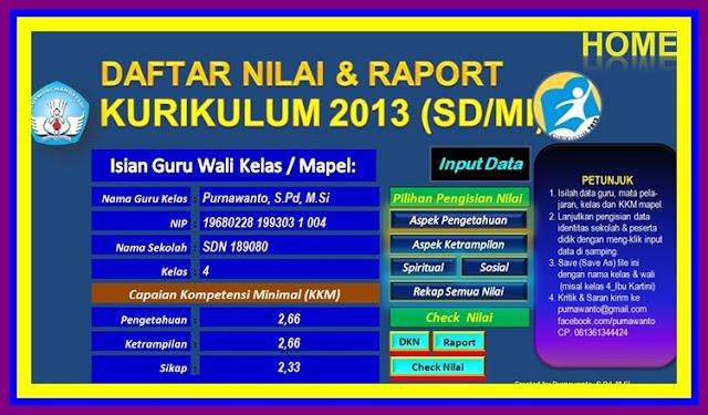 Aplikasi Raport Kurikulum 2013 dan KTSP SD/MI, SMP/MTs,SMA/MA,SMK/MK Terbaru