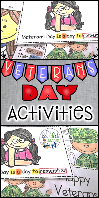 These Veterans Day resources and activities are a perfect addition to go along with the other ideas, crafts, and games you have planned for your Preschool, Kindergarten, or First Grade kids. Build a differentiated reader, a FREE printable, book suggestions, math, literacy, and more!