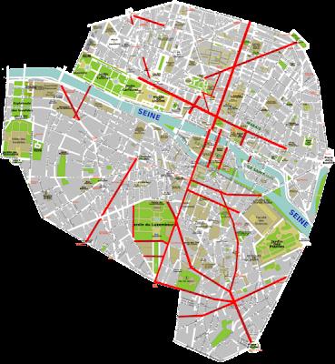 Plano de las nuevas calles y avenidas trazadas por Haussmann