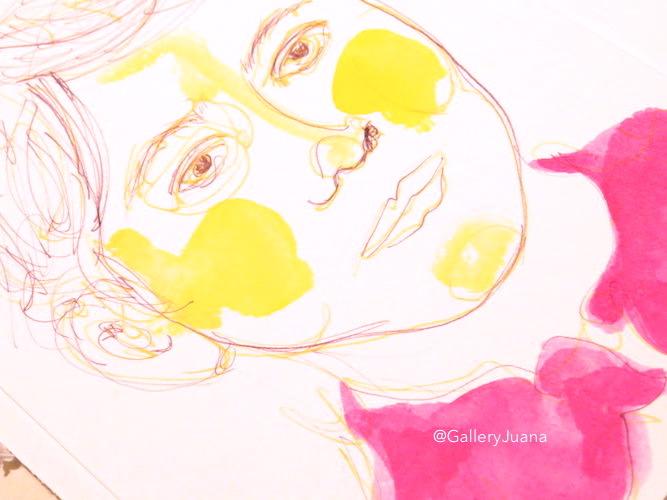 de atramentis inks, pen and ink portrait, gallery juana