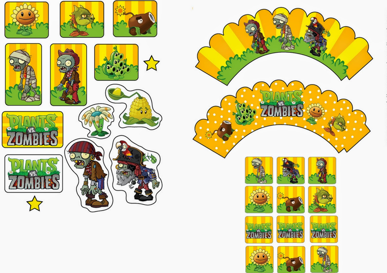 Plants Vs Zombies Free Printable Cupcake Toppers And