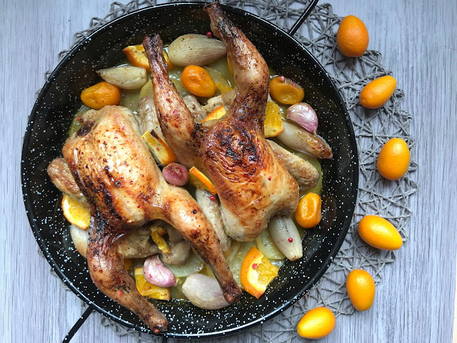 picantones al horno glaseados con naranja y miel receta