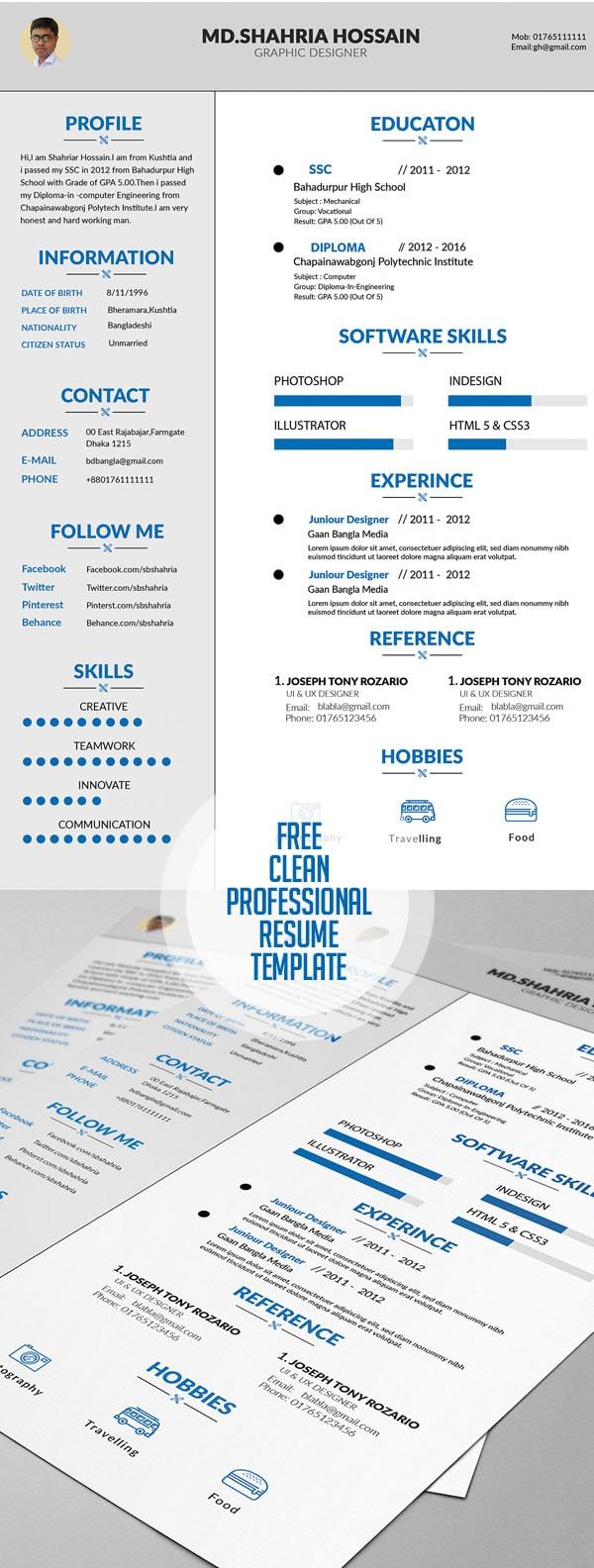 Template Resume / CV Terbaru 2017 - Free Clean Proffesional Resume Design
