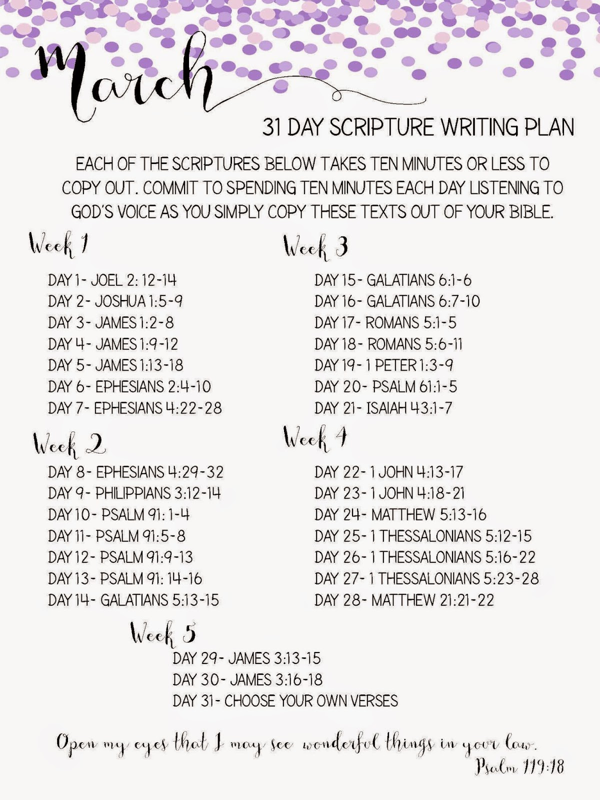 Sweet Blessings: March Scripture Writing Plan