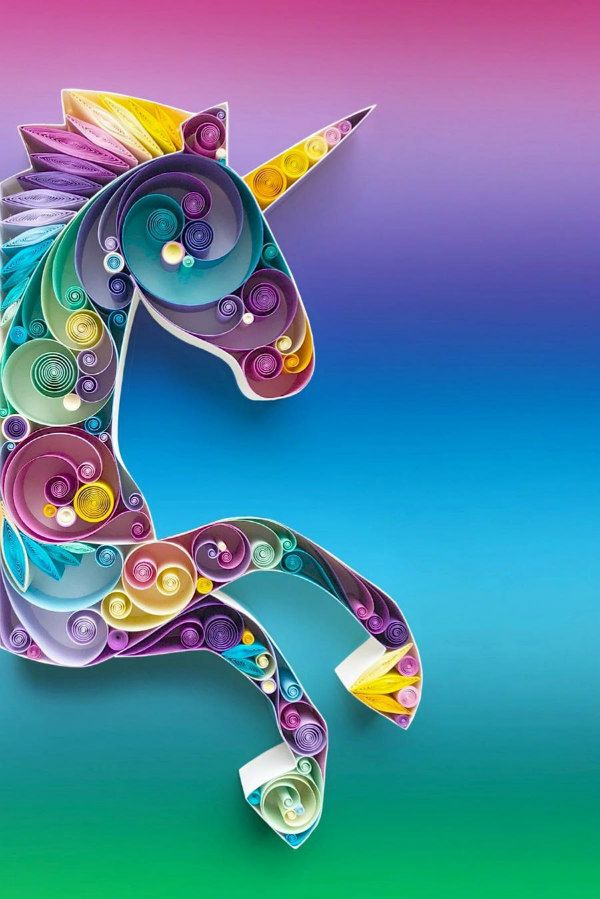 colorful quilled unicorn