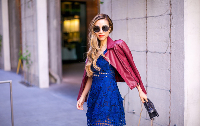 fit and flare lace dress, lovers and friends la beelina dress, christian louboutin pumps, chanel bag, chloe sunglasses, burgundy leather jacket, fall fashion, fall outfit ideas, san francisco fashion blog, san francisco street style, fall date night outfit ideas