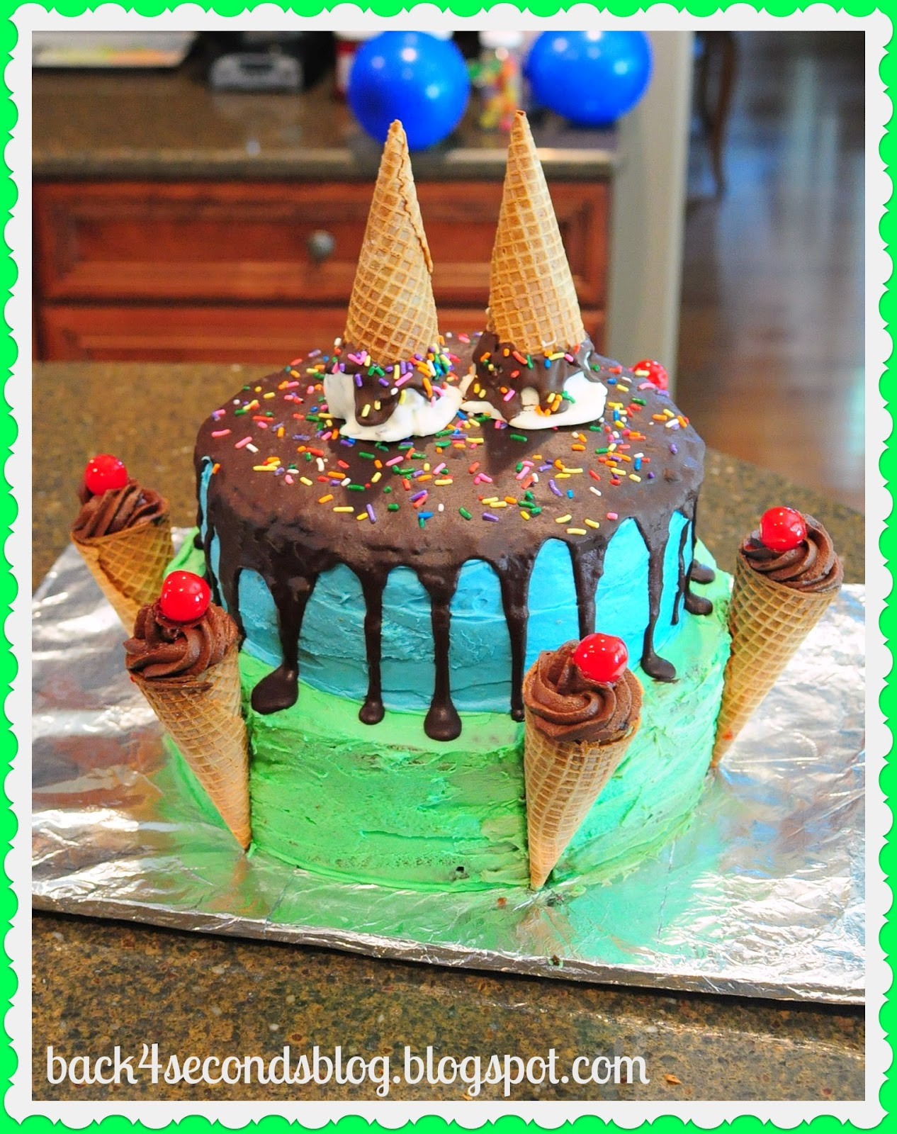 Melting Ice Cream Cone Cake Birthday Party Icecream