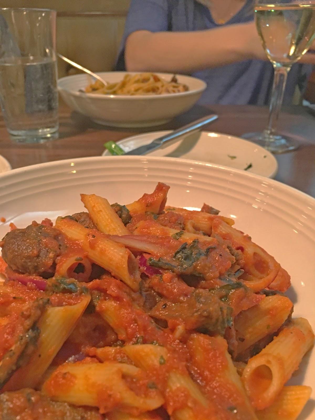 vegan pasta at Vivo 53 - an Italian restaurant in Fort Worth, Texas