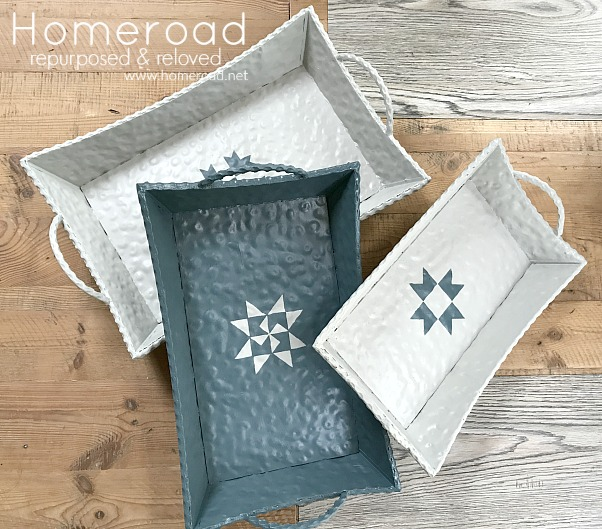 Remade metal trays with quilt designs