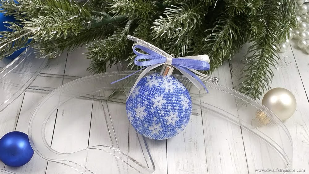 Fantastic blue glass bead crochet ball