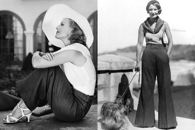 Resultado de imagem para primeiras mulheres usando calças antigamente primeiras calças