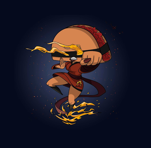 A feminine ninja with a taco for a head and flames shooting out of the eyes and around the feet.