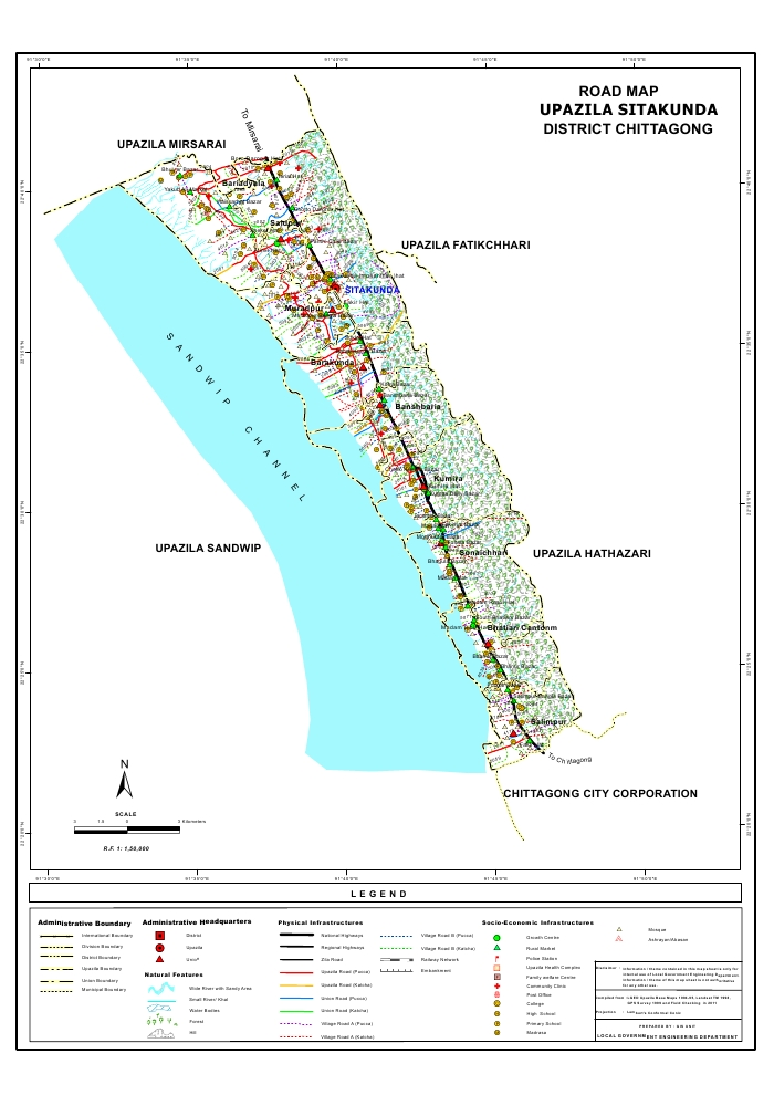 Sitakunda Upazila Road Map Chittagong District Bangladesh