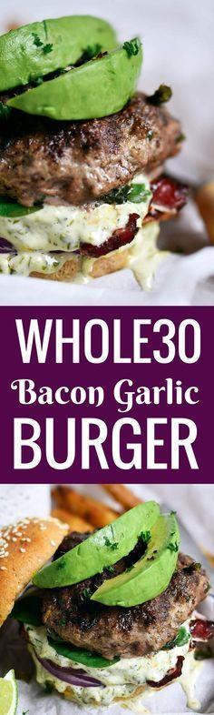 Paleo Bacon Garlic Avocado Burger