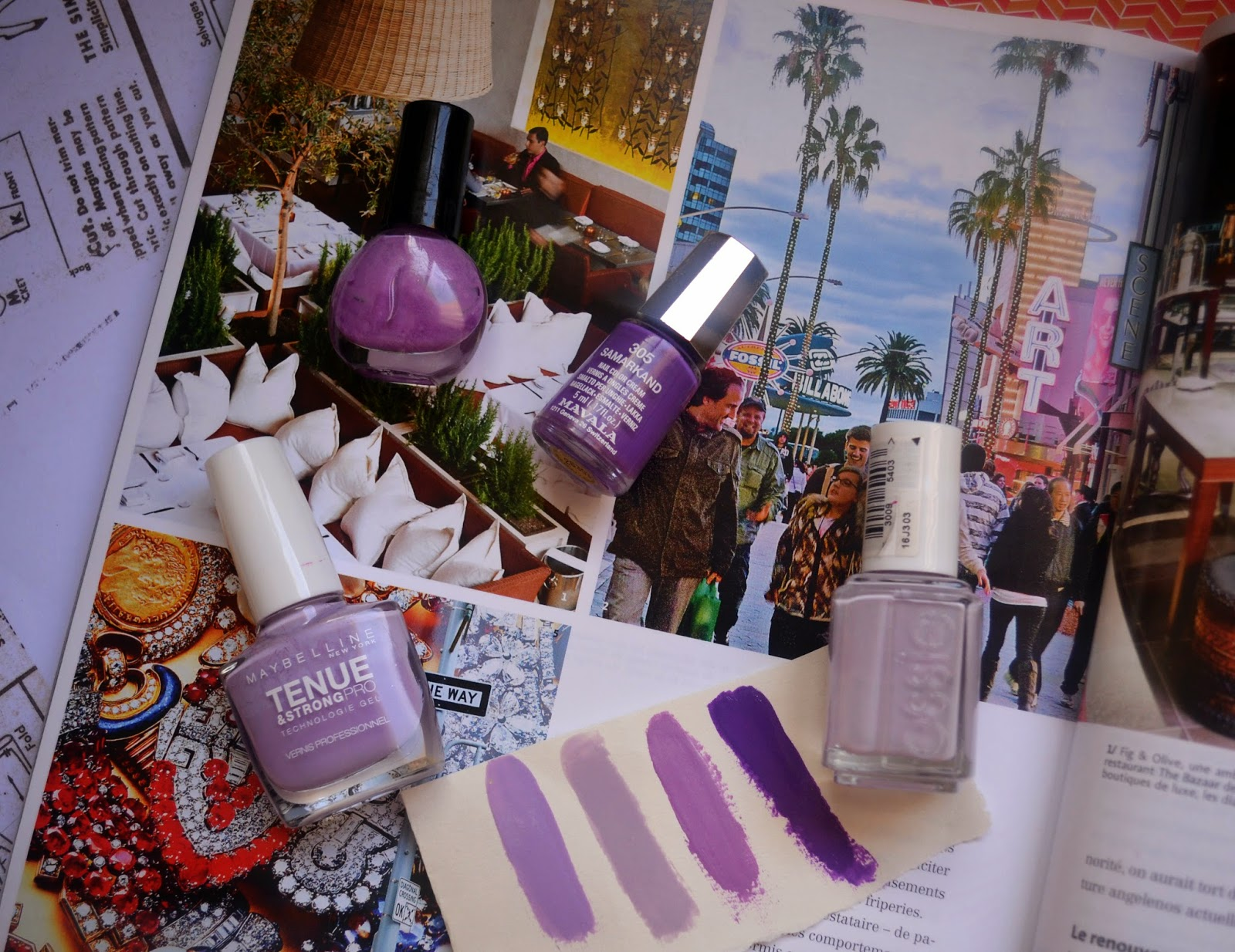 Purple nails polishes selection for summer
