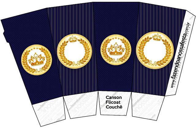 Golden Crown in Blue Free Printable Pop Corn Box.