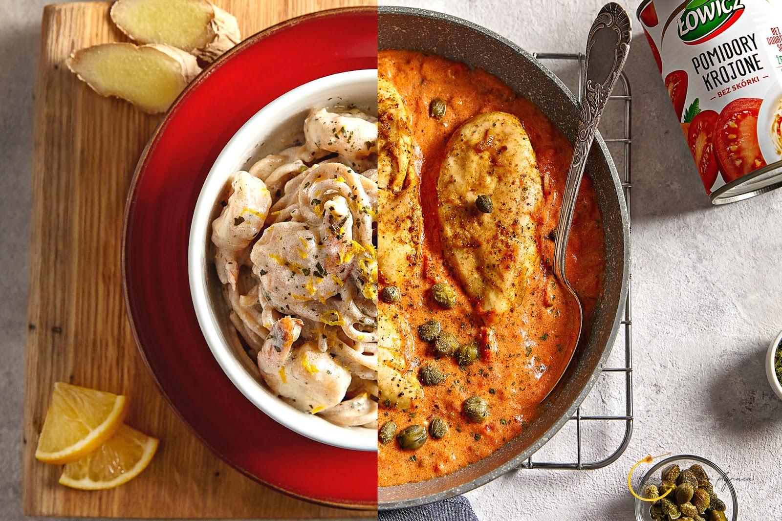 makaron z krewetkami, kurczak w sosie pomidorowym z kaparami, pomidory w puszcze łowicz, spaghetti lubella, kraina miodem płynąca, fotografia kulinarna szczecin