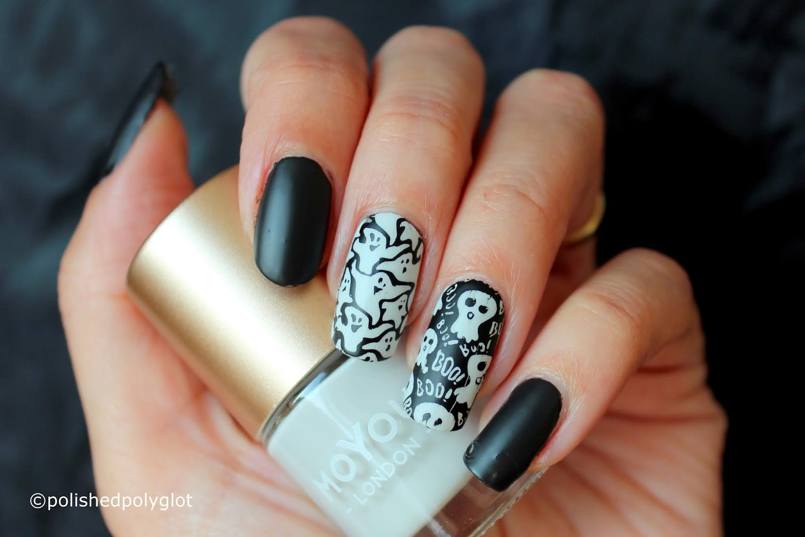 Nail Art Halloween Manicure With Ghosts Polished Polyglot