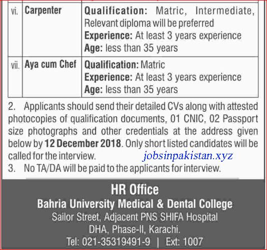 Advertisement for Bahria University Karachi Jobs December 2018