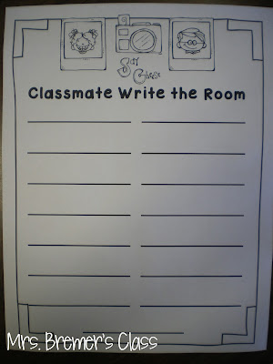 EDITABLE classmate name Write the Room Kindergarten literacy center