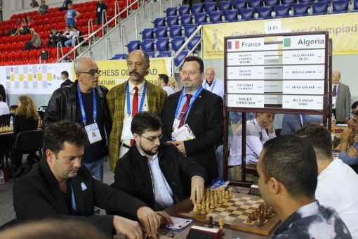 Lors de la ronde 3, la France, emmenée par son leader Maxime Vachier-Lagrave a vaincu logiquement l'équipe d'Algérie sur le score de 3.5-0.5 - Photo © Chess & Strategy