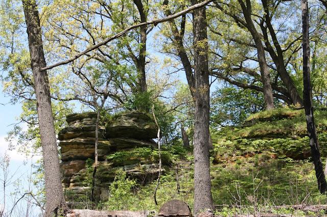 Picturesque sandstone cliffs at Nachusa Grasslands in Illinois
