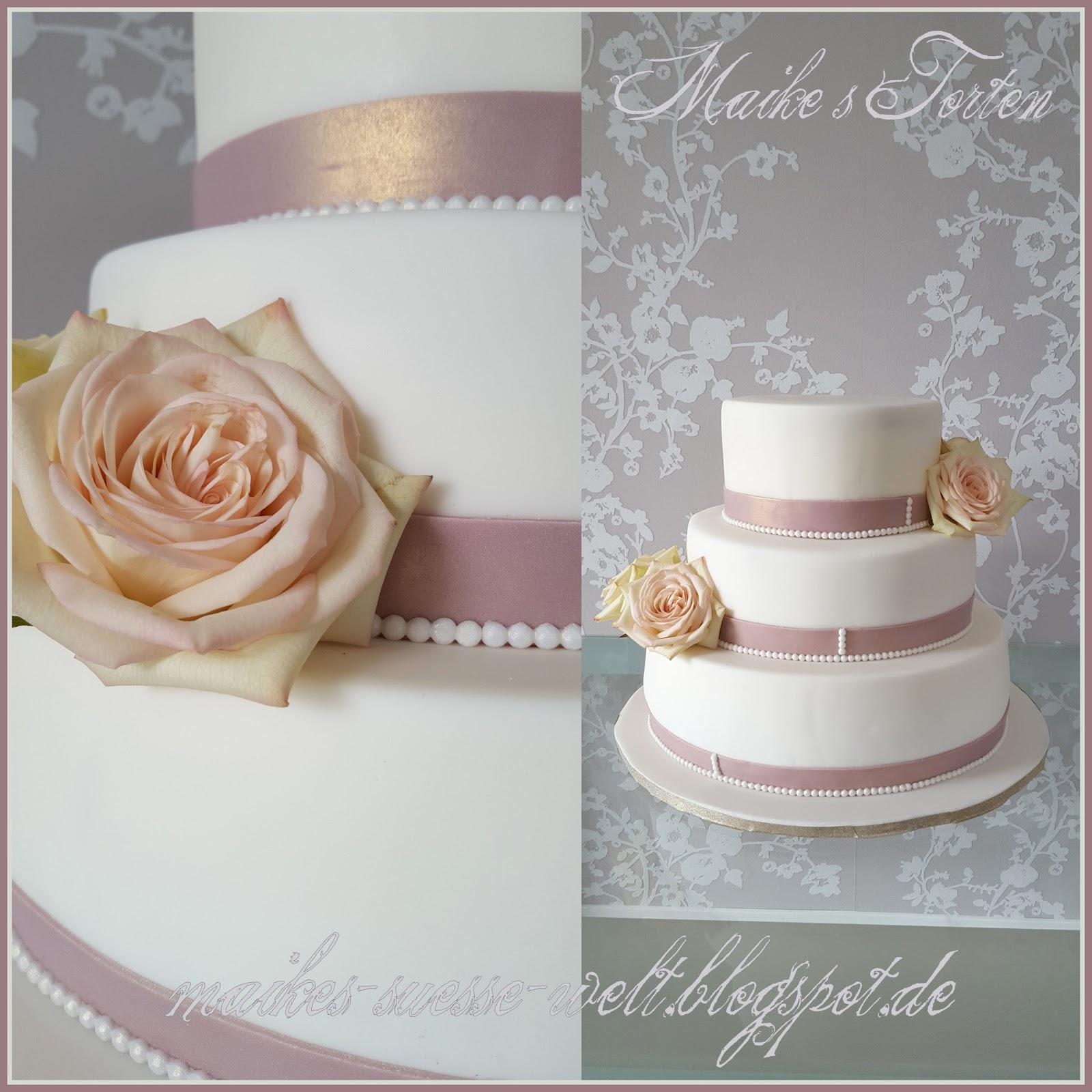 Hochzeitstorte Mit Echten Rosen  Hochzeit
